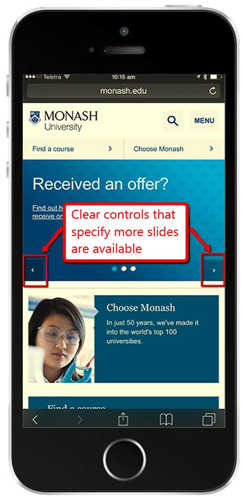 iPhone screenshot of Monash homepage with slideshow containing arrows at the very left and at the very right