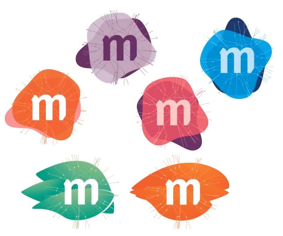 Six new paint daub Mozilla logos