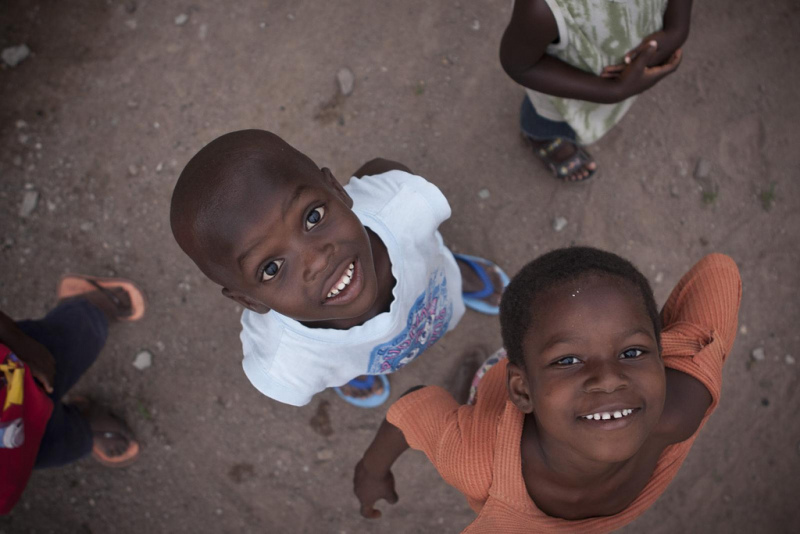 African children looking up at camera