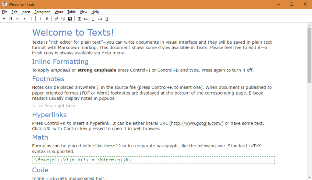 A screenshot of the Texts editor