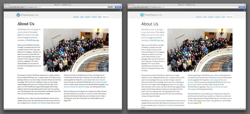 Wordpress.org: Before and after.