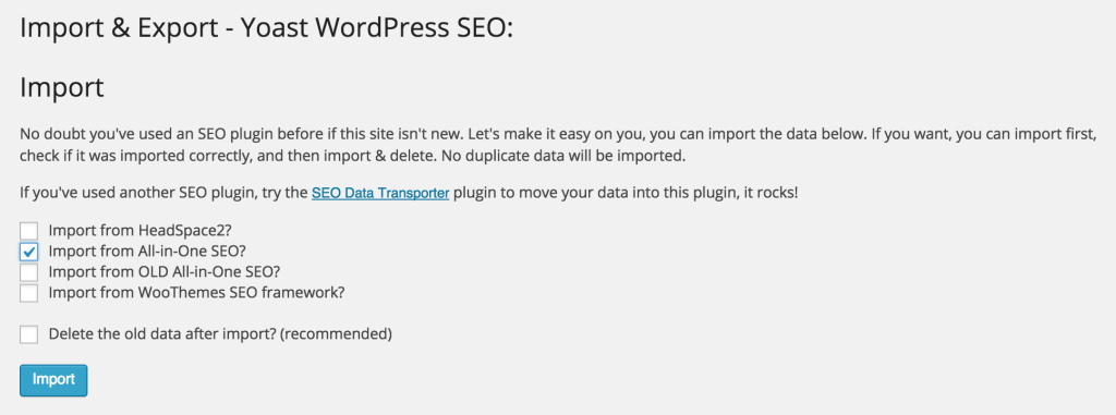 All in One SEO Import Options in Yoast