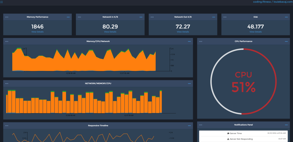 Service dashboard screenshot