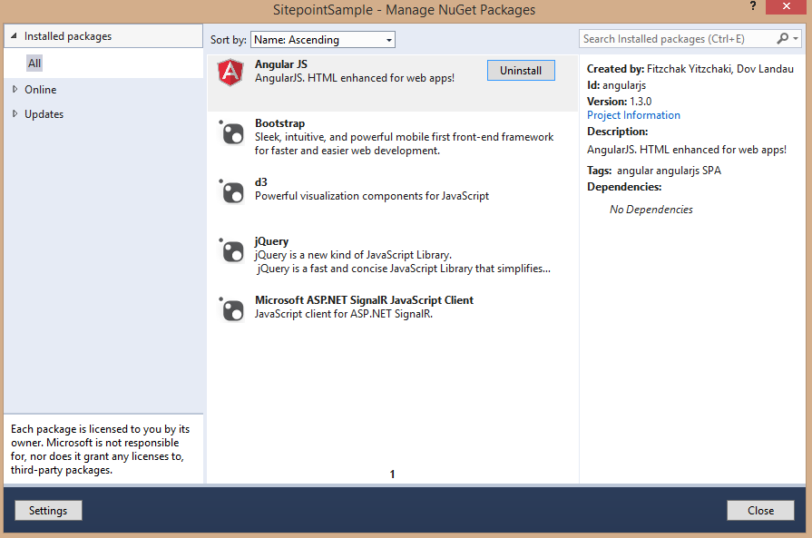 Downloaded Nuget Packages