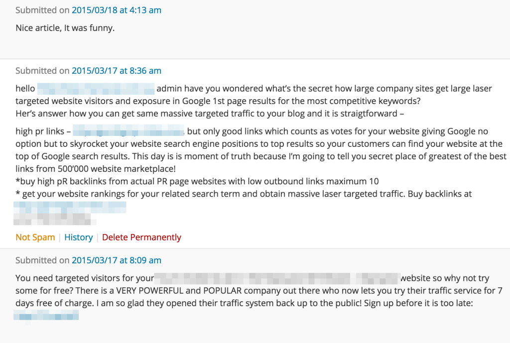 Comment Spam in WordPress