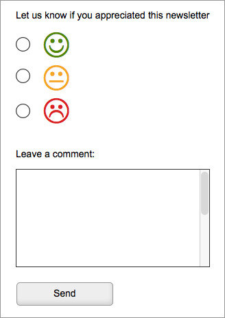 A radio button set with three faces - happy, sad and passive.