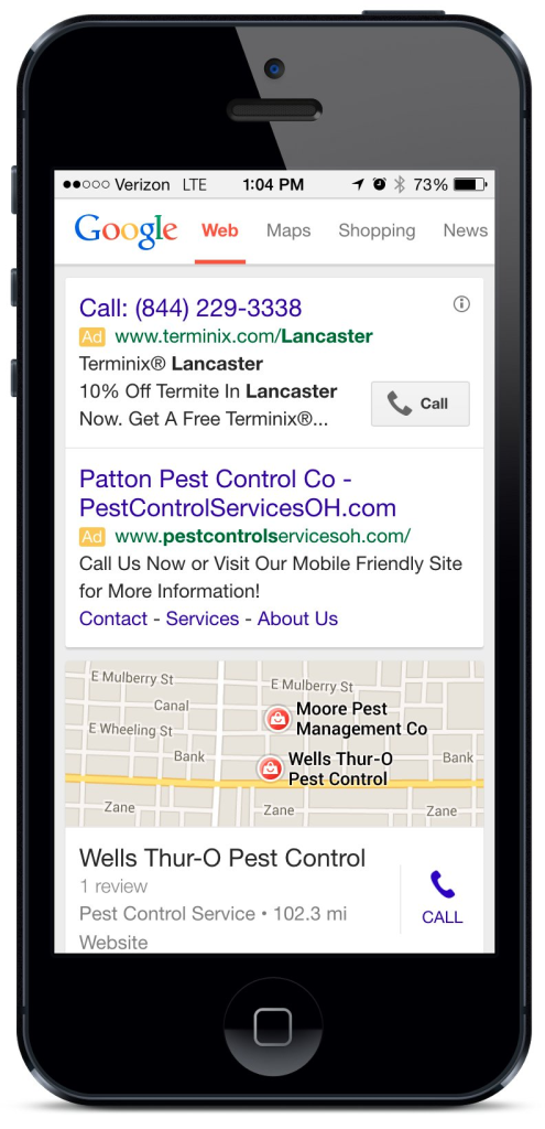 Local ads on a mobile Google search
