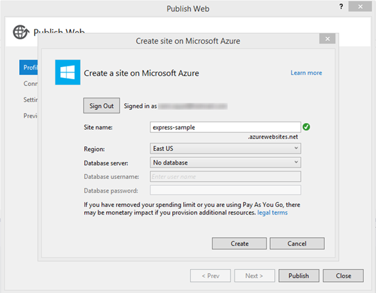 Publishing to Azure Step 3