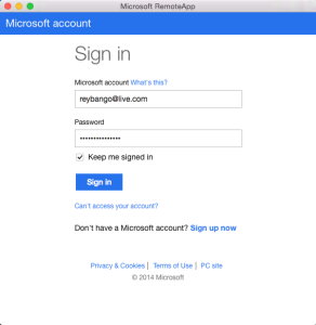 Signing In to Microsoft App