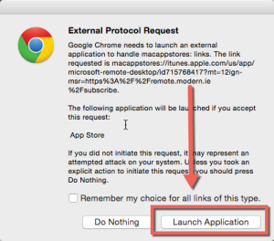 Chrome External Protocol Request