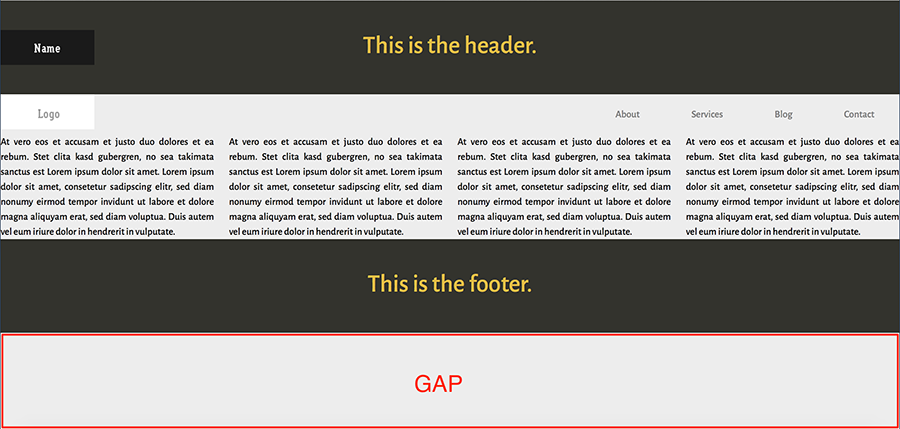 sticky footer gap