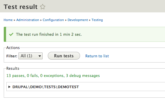 drupal 8 automatated tests