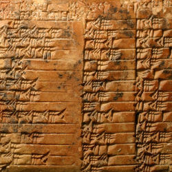 Ancient Sumerian clay tablet with table