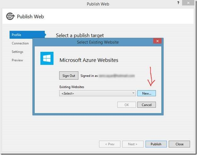 Publishing New Azure Website