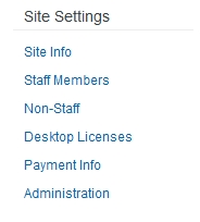 Site Settings menu