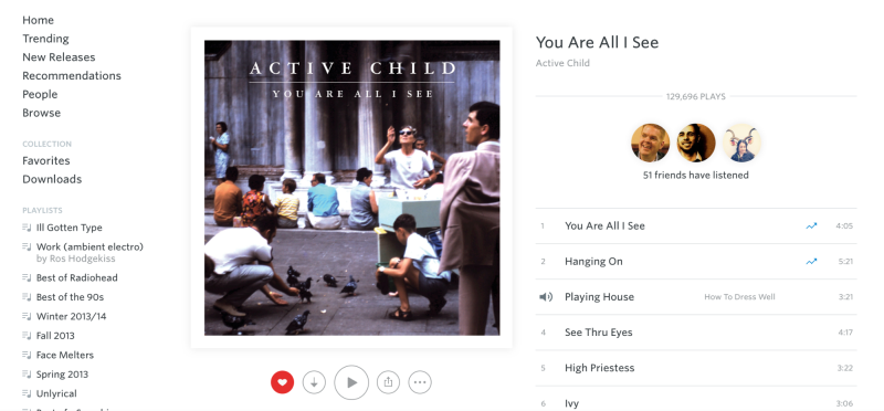 Music app, Rdio