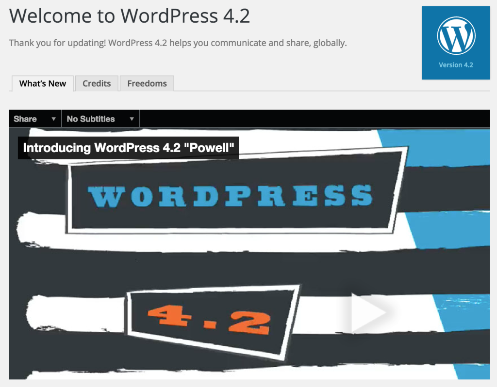 WordPress 4.2 Upgrade