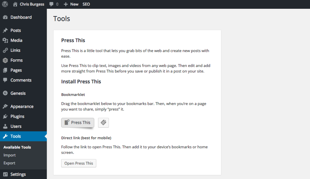 WordPress 4.2 Press This Feature