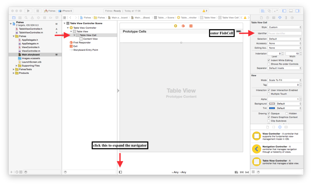 Show the document outline or navigator to see the components available on Interface Builder