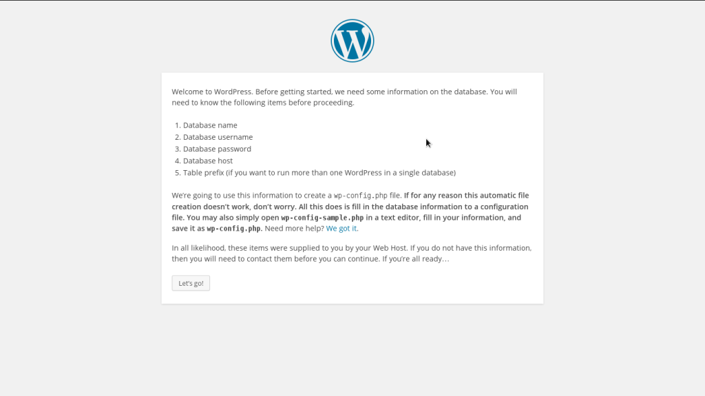 Welcome WordPress Screen