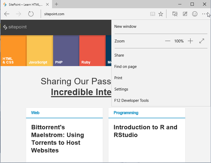 Microsoft Edge: A Hands-on Preview — SitePoint