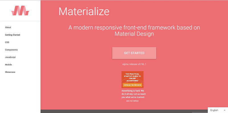 materialize css framework screenshot