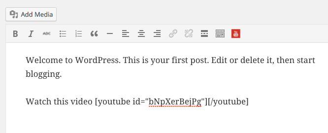 YouTube Shortcode Button in the Visual Editor