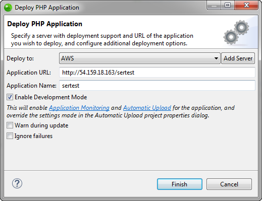 Deploy Application dialog