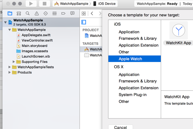 Creating a WatchApp in XCode