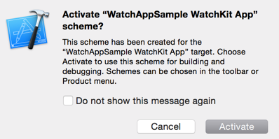 Activating Schema for Watch App