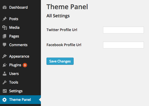 Theme Settings API Social Profiles