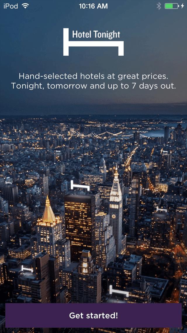Hotel tonight start page