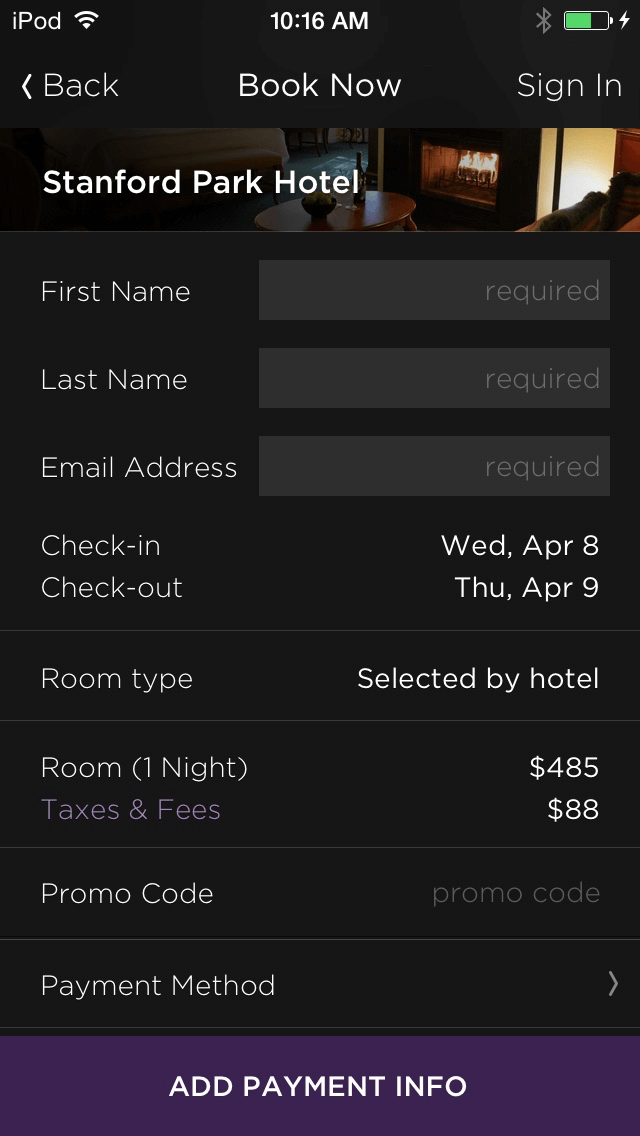 Hotel Tonight booking page