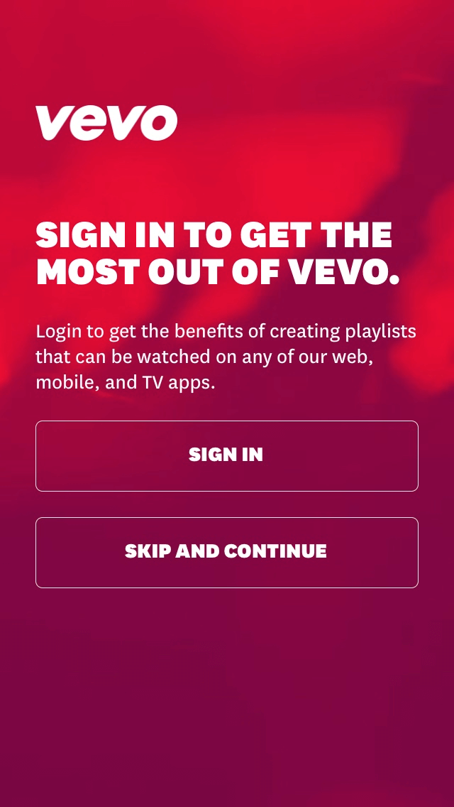 Vevo sign in