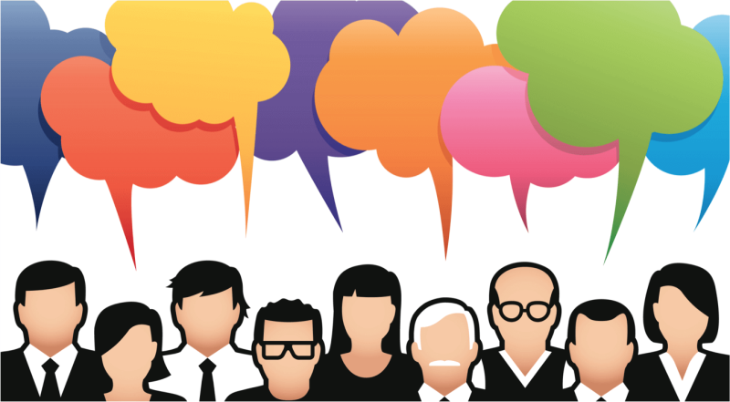Illustration of people talking with different colored speech bubbles