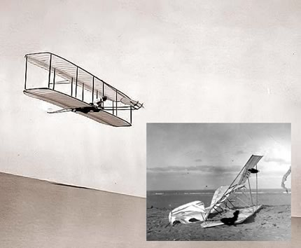 Wright Brothers glider in flight (inset: A crashed glider)