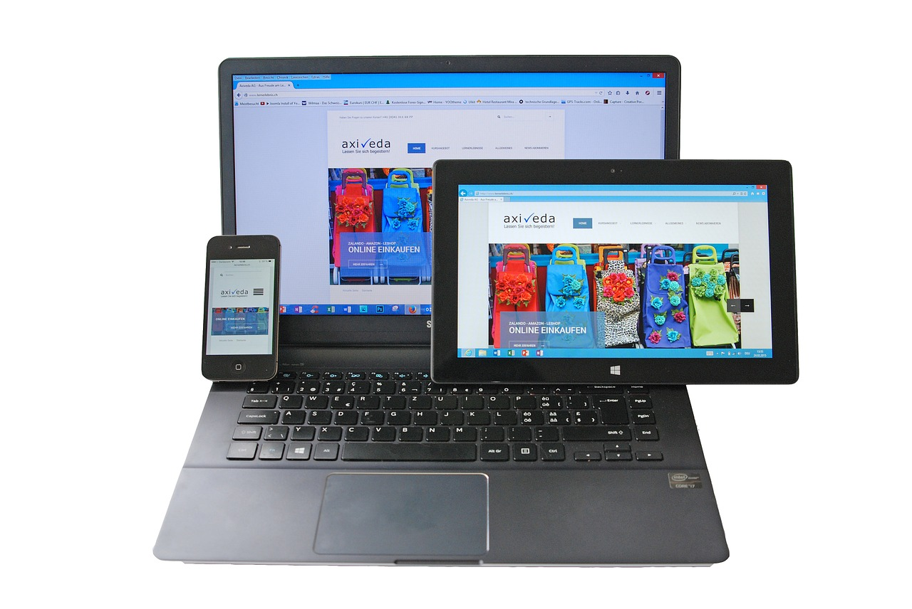 Website displayed on various devices