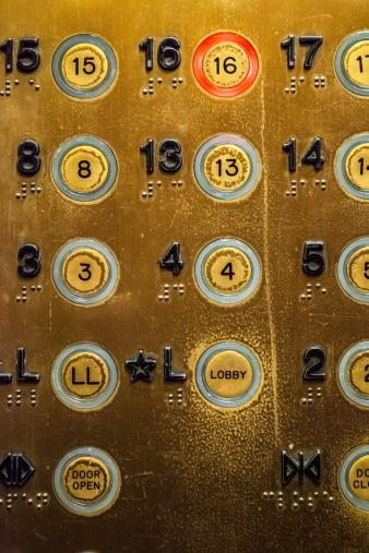 A well worn elevator panel
