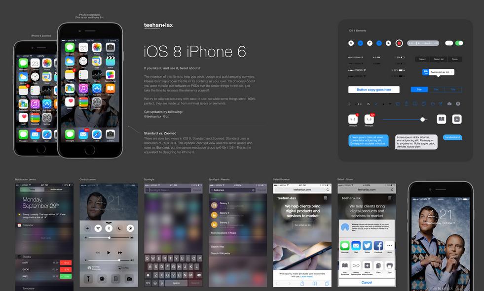 iOS 8 iPhone 6 UI Kit