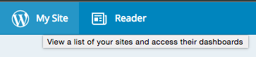 WordPress's MY Site button comes with a tooltip that offers to View a list of YOUR sites