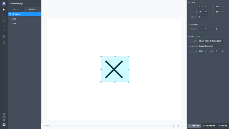 The 'x' close icon