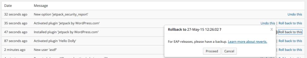 Rollback Example in VersionPress