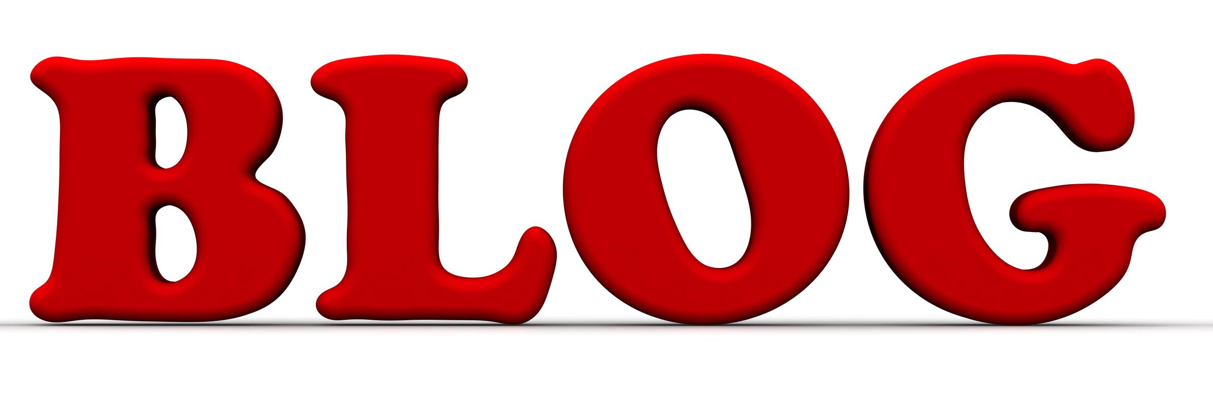 Blog (блог). Красное слово на белом фоне