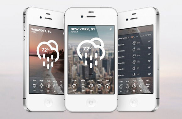 Weather apps using blurred cityscapes