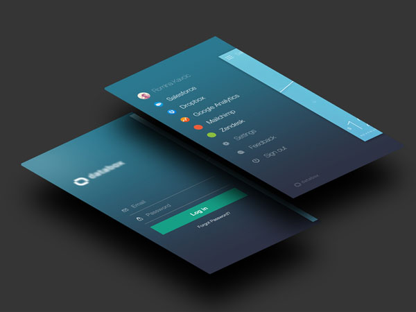 Subtle Color Palettes: 2 cobalt interface mockups