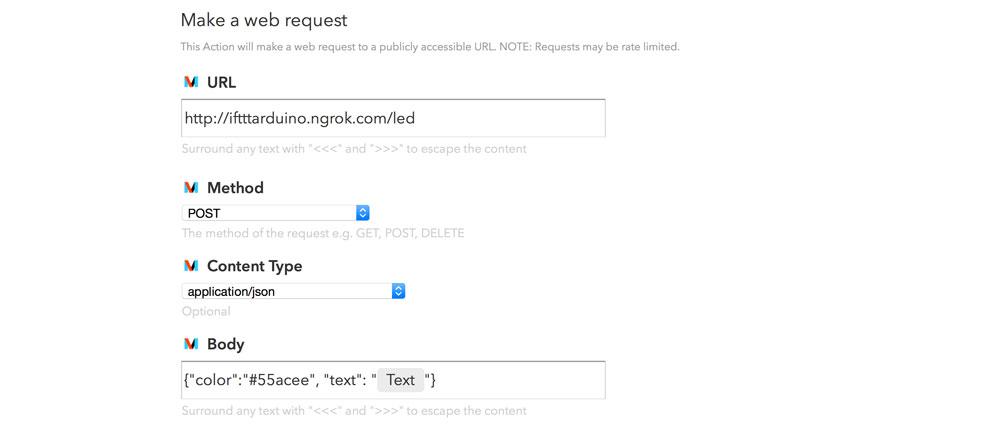 Making IFTTT JSON Requests
