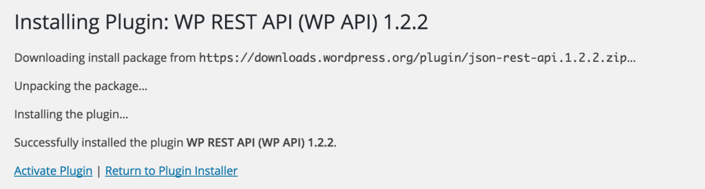 Installing the wp-rest-api plugin