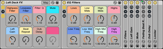 An Ableton Live effects channel. Data flows left to right.
