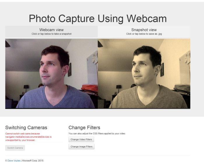 Photo capture using a webcam