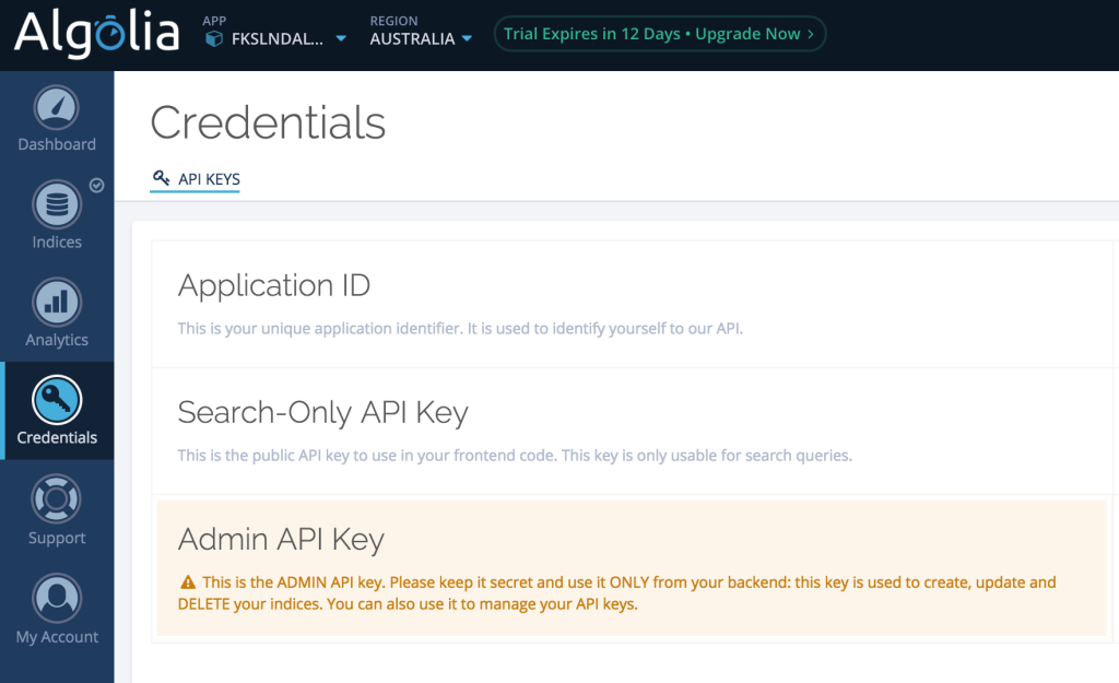 Algolia Credentials